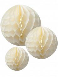 3 Boules en papier alvéolé ivoire 15, 20 et 25 cm
