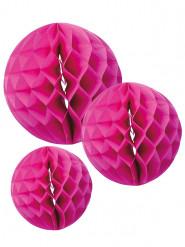 3 Boules en papier alvéolé rose fuchsia 15, 20 et 25 cm
