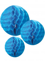 3 Boules en papier alvéolé turquoise 15, 20 et 25 cm