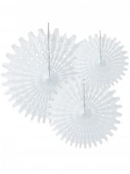 3 Rosaces éventails en papier blanc 20, 30 et 40 cm