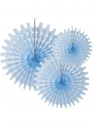 3 Rosaces éventails en papier bleu ciel 20, 30 et 40 cm