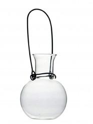 Petite fiole en verre avec anse en acier
