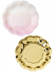 12 Petites assiettes en carton rose et or 17 cm