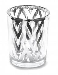 Photophore en verre chevrons argentés