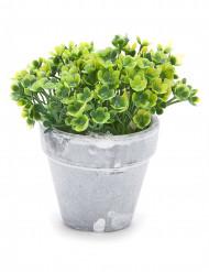 Petit pot fleurs artificielles vertes