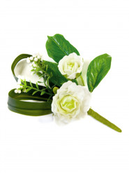 Deco de table fleurs artificielles roses ivoire