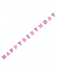 Guirlande Happy Birthday rose et violet
