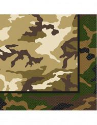 16 Serviettes en papier militaire 33 x 33 cm