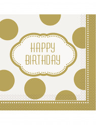 16 Serviettes en papier anniversaire doré 33 cm