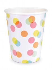 8 Gobelets en carton confettis pastels 25cl