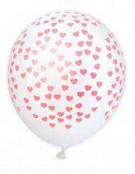 6 Ballons latex coeurs 25 cm