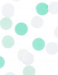 Confettis en papier blanc et vert d'eau 20gr