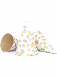 6 Chapeaux de fête Confettis pastels
