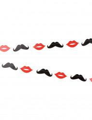 Guirlande moustaches et bouches 3 m