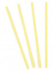 10 Pailles chevrons jaunes et blanches