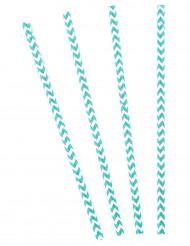 10 Pailles chevrons bleues et blanches