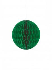 Mini boule papier alvéolé vert foncé 12 cm