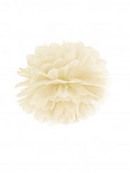 Pompon à suspendre en papier ivoire 25 cm
