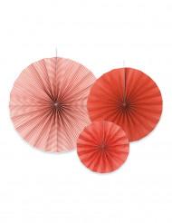 3 Rosaces en papier rouge orangé