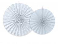 2 Rosaces en papier blanches et gris-bleu