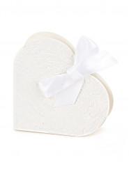 10 Boites à dragées coeur blanc