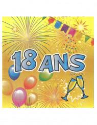 20 Serviettes en papier 18 ans Anniversaire Fiesta 33 cm