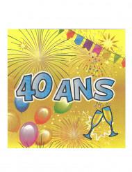 20 Serviettes en papier 40 ans Anniversaire Fiesta 33 cm