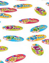 80 Confettis de table papier 40 ans Fiesta