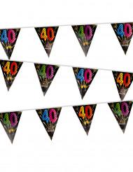 Guirlande 20 fanions 40 ans Feux d'artifice 7 mètres