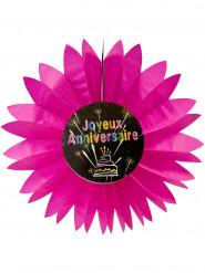 Eventail papier joyeux anniversaire Feux d'artifice rose 50 cm
