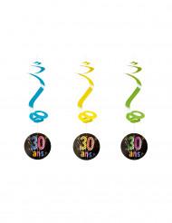 4 Suspensions spirales 30 ans Feux d'artifice 60 cm