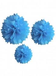 3 Pompons en papier turquoise 20, 30 et 40 cm