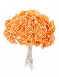 72 Mini roses satin pêche