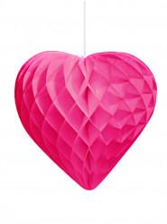 Décoration coeur alvéolé fuchsia en papier 30 cm
