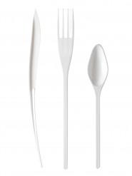 30 Couverts en plastique blanc - Premium