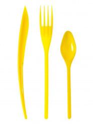 30 Couverts en plastique jaune