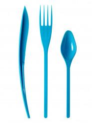 30 Couverts en plastique turquoise - Premium