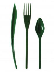 30 Couverts en plastique vert sapin - Premium