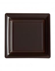 12 Petites assiettes carrées plastique chocolat 18 cm