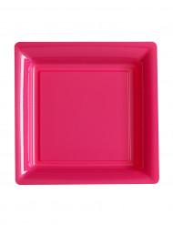 12 Petites assiettes carrées en plastique fuschia 18 cm