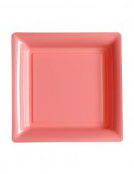 12 Petites assiettes carrées en plastique rose 18 cm