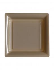 12 Petites assiettes carrées en plastique taupe 18 cm
