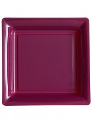 12 Assiettes carrées plastique aubergine 23,5 cm