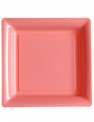 12 Assiettes carrées en plastique rose 23,5 cm