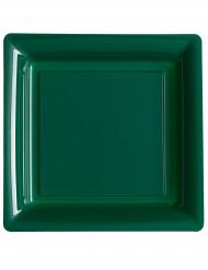 12 Assiettes carrées en plastique vert sapin 23.5 cm
