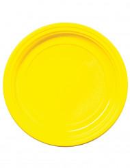 50 Assiettes à dessert en plastique jaune 17 cm