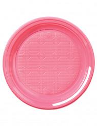 50 Petites assiettes en plastique rose 17 cm