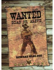 Affiche en carton Wanted 30 x 40 cm