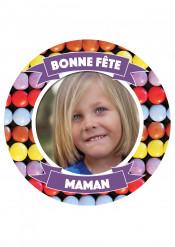 Disque en sucre personnalisable Bonbons Bonne fête Maman 20 cm