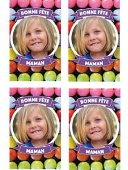 9 Vignettes en sucre personnalisables pour biscuits Bonbon Bonne fête maman
